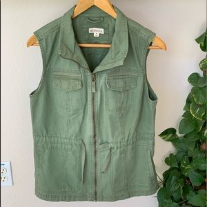 Merona Army Green Cargo Utility Vest sz med NWOT